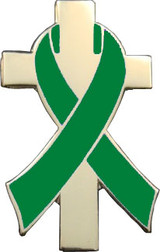 Green Awareness Ribbon Lapel Pin