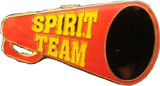Spirit Team Red Megaphone with Yellow (gold plated) Lapel Pin (CHR-216G)