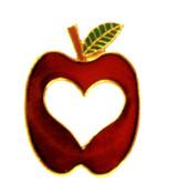 Heart cut-out in apple Lapel Pin