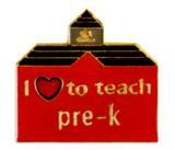 I (heart) to teach Pre-K Lapel Pin