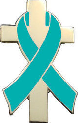 Teal Awareness Ribbon Lapel Pin