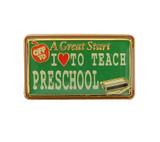 Off to A Great Start I (heart) To Teach Preschool Lapel Pin