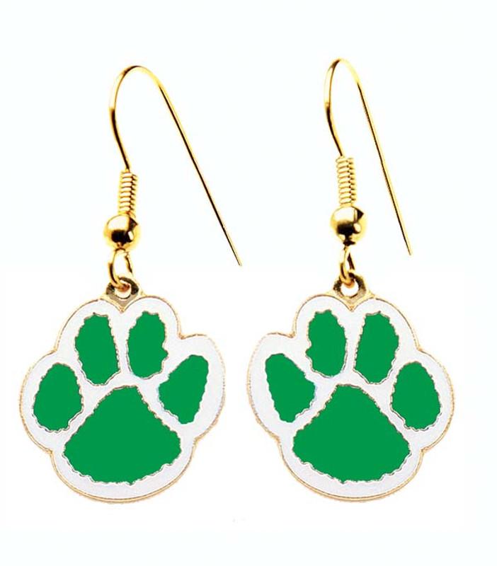 Paw Earrings Green/White