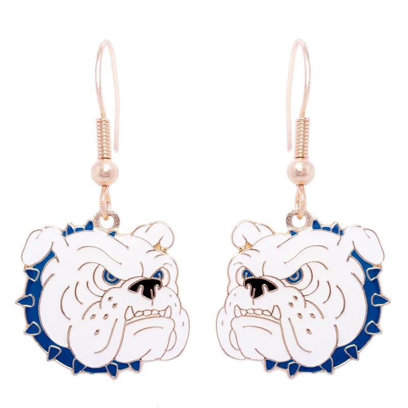 Bulldog Earrings, Blue Collar