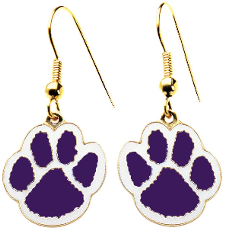 Paw Earrings Purple/White