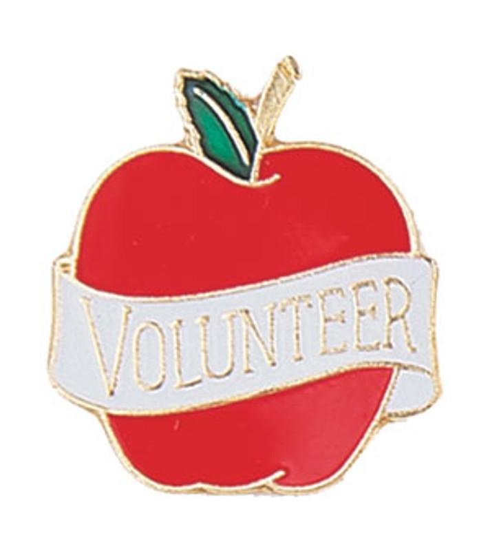 "Apple with ""Volunteer"" ribbon Lapel Pin"