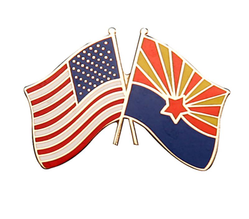 Arizona and United States Flags Lapel Pin