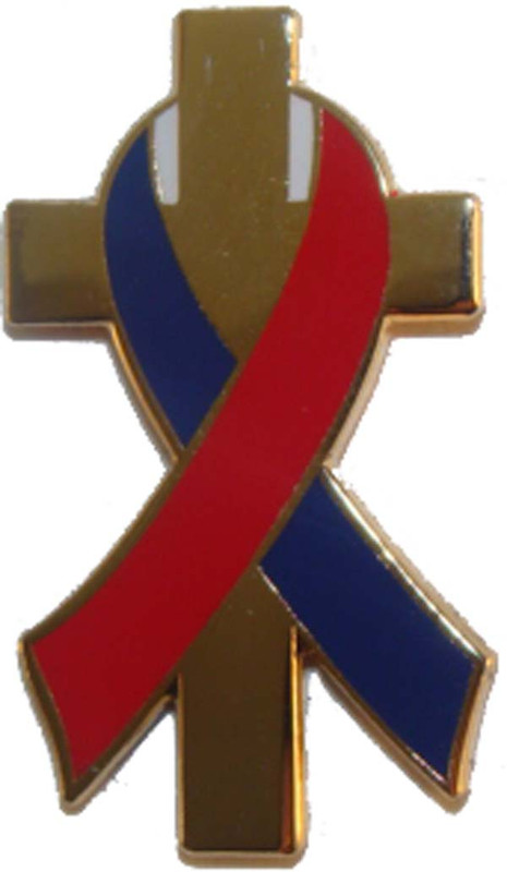 Red, White and Blue Awareness Ribbon on Gold Plated Cross Lapel Pin