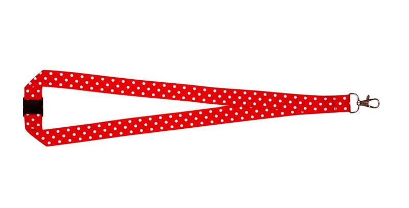 Polka Dot Print Lanyard - Red