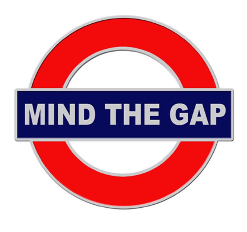 2012 London Themed Mind The Gap Lapel Pin