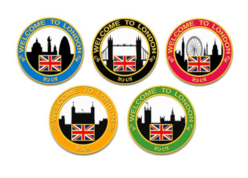 2012 London Skyline Themed Lapel Pin Set