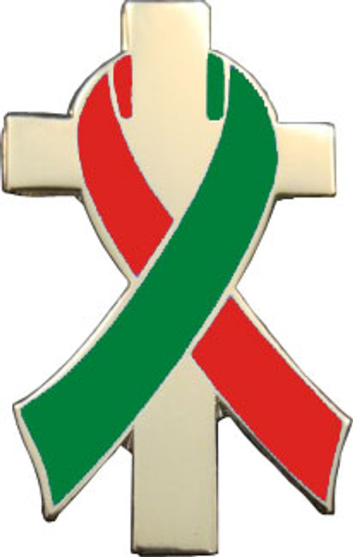 Red and Green Awareness Ribbon Lapel Pin on Silver Nickel Cross