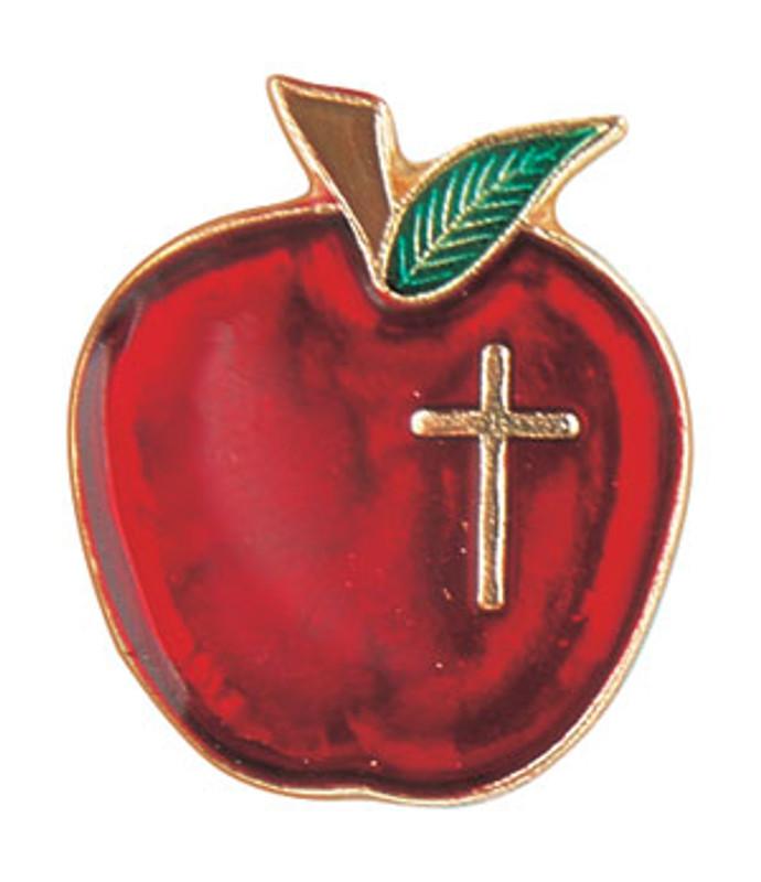 Apple w/cross Lapel Pin