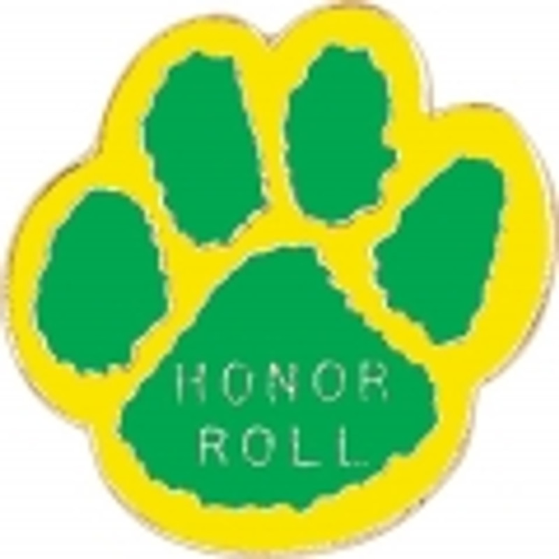 Paw Print - Honor Roll (green/yellow) Lapel Pin