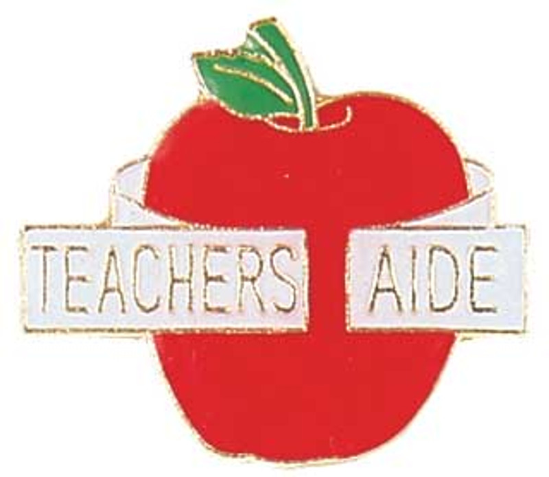 """Apple with """"Teachers Aide"""" ribbon Lapel Pin"""