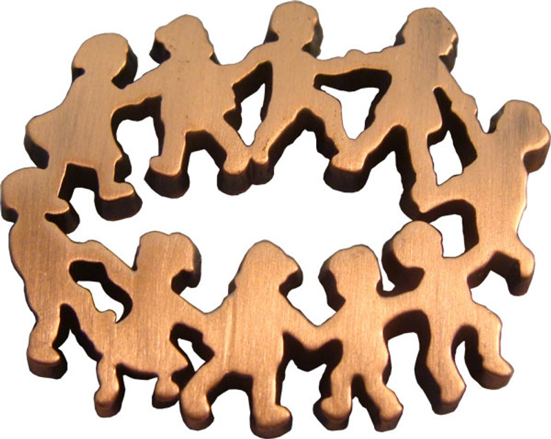 Children in Circle - Antique Bronze Lapel Pin