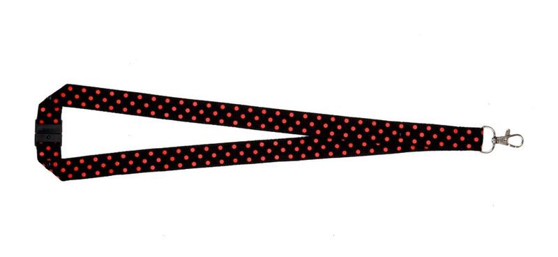 Polka Dot Print Lanyard - Black/Red