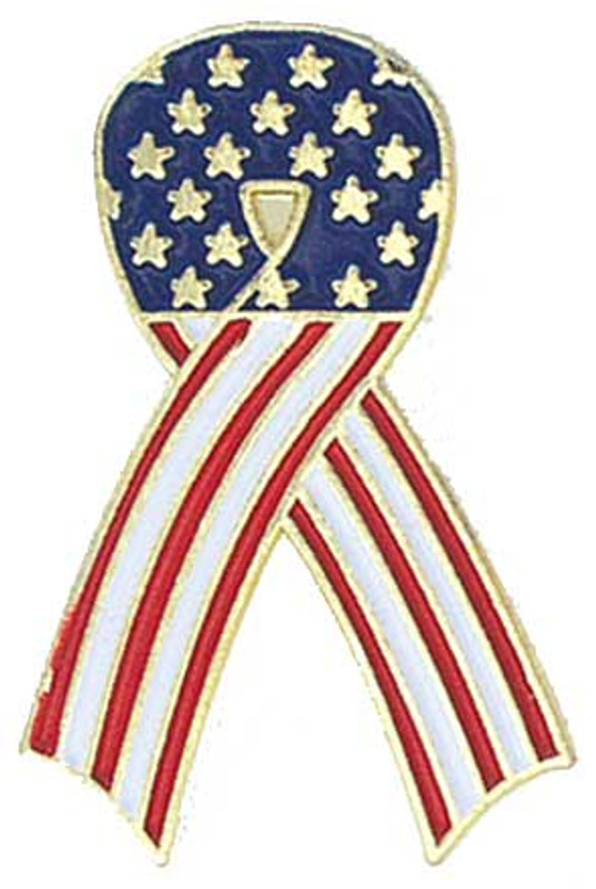 Flag Awareness Ribbon Lapel Pin