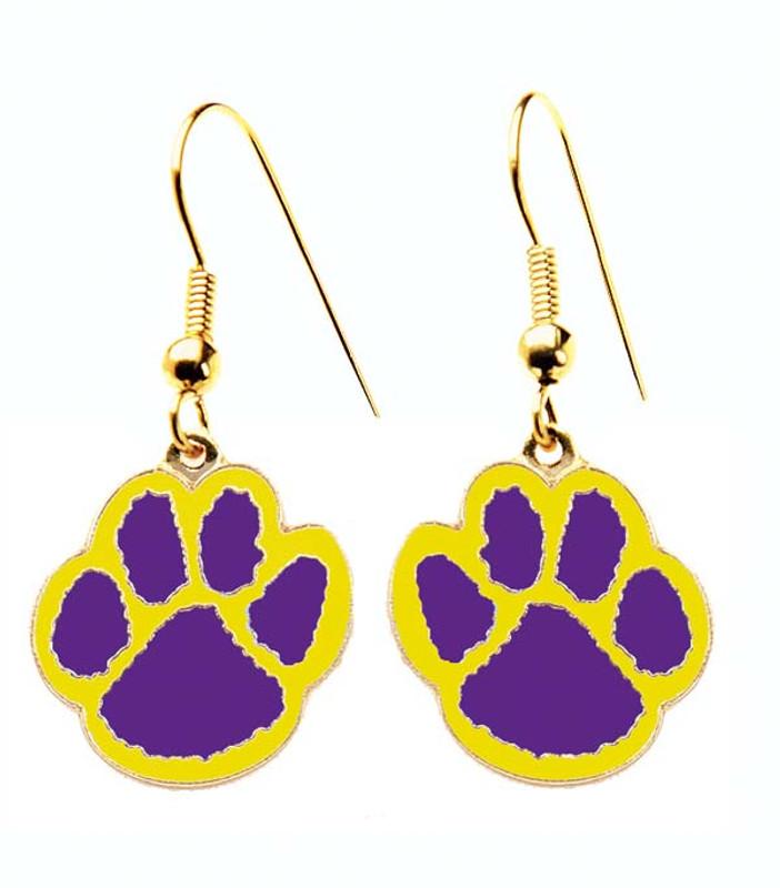 Paw Earrings Purple/Yellow