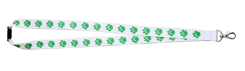 Paw Print Lanyard White w/Green Paw