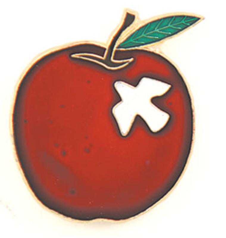 Apple w/dove Lapel Pin