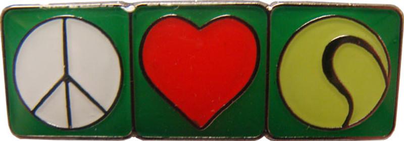 Peace, Love, Tennis Lapel Pin