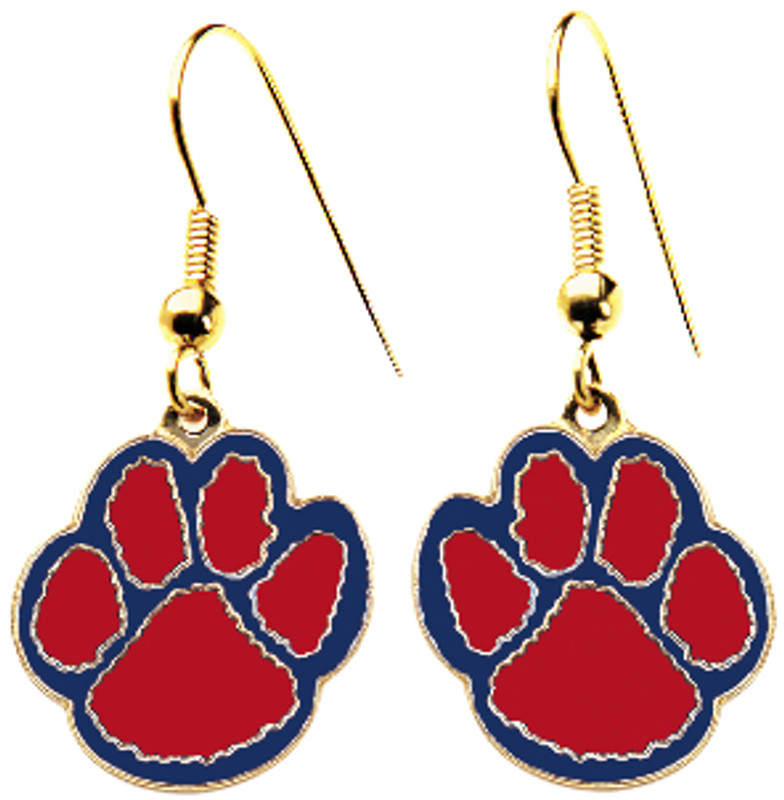 Paw Earrings Red/Blue