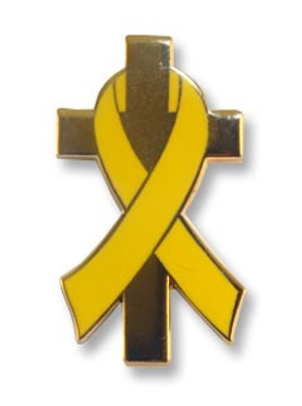 Yellow Awareness Ribbon on Gold Plated Cross Lapel Pin
