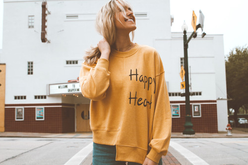 *SOLD OUT* HAPPY HEART HAND-PAINTED SWEATSHIRT