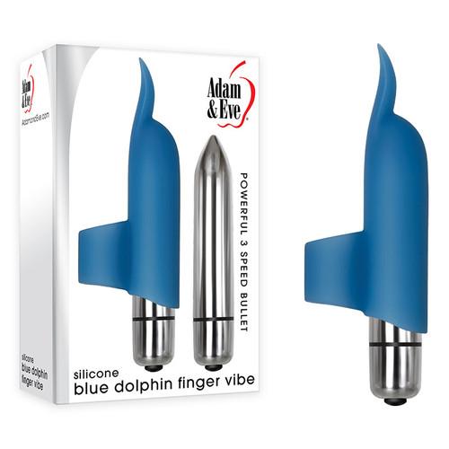 AE-WF-6610-2-WW - Adam & Eve Silicone Blue Dolphin Finger Vibe