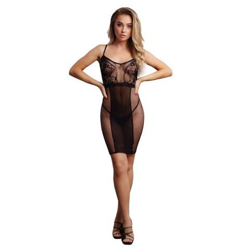 DES037BLKOS-WW - LE DESIR Knee-Length Lace and Fishnet Dress Black - One Size