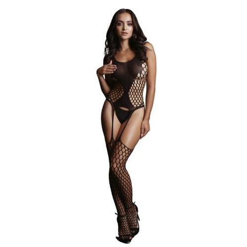 DES020BLKOS-WW - LE DESIR Fence Suspender Bodystocking Black One Size