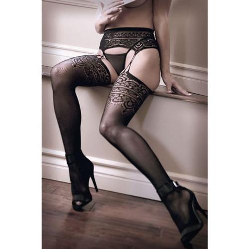 B-SF933-OS-WW - SHEER FANTASY INTO YOU Geometric Garter Stockings