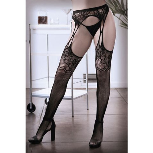 B-SF936-OS-WW - SHEER FANTASY WHAT IF Floral Net Garter Stockings