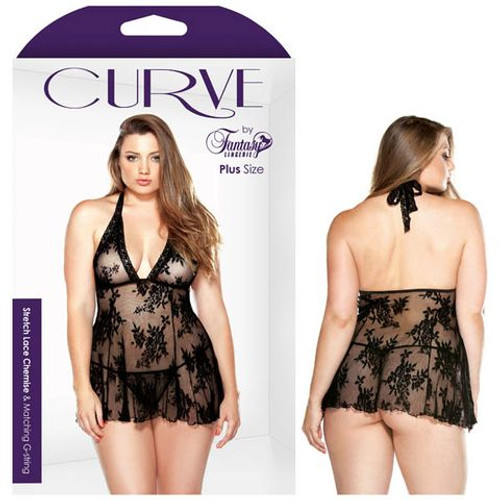 B-P121-1X2X-WW - Curve Claudia Stretch Lace Chemise And Matching G-string 1X/2X