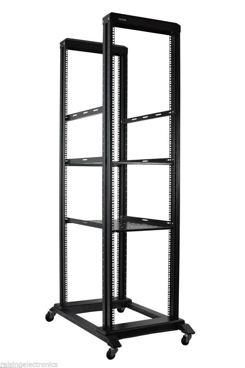 42u Open Frame Network Server Rack 1000mm Deep 4 Post 3 Pairs Of L Rails 2 Shelf