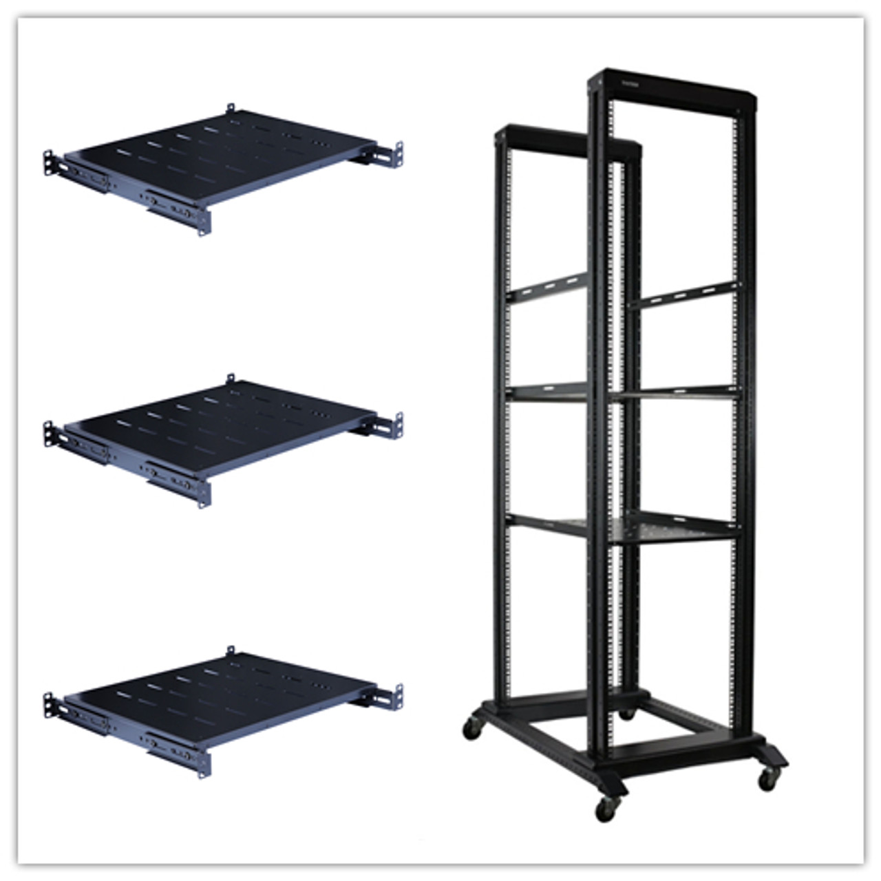 Raising Electronics 42u 4 Post Open Frame 19 Server Audio Steel Rack Deep From 16 32 With Fixed Shelves