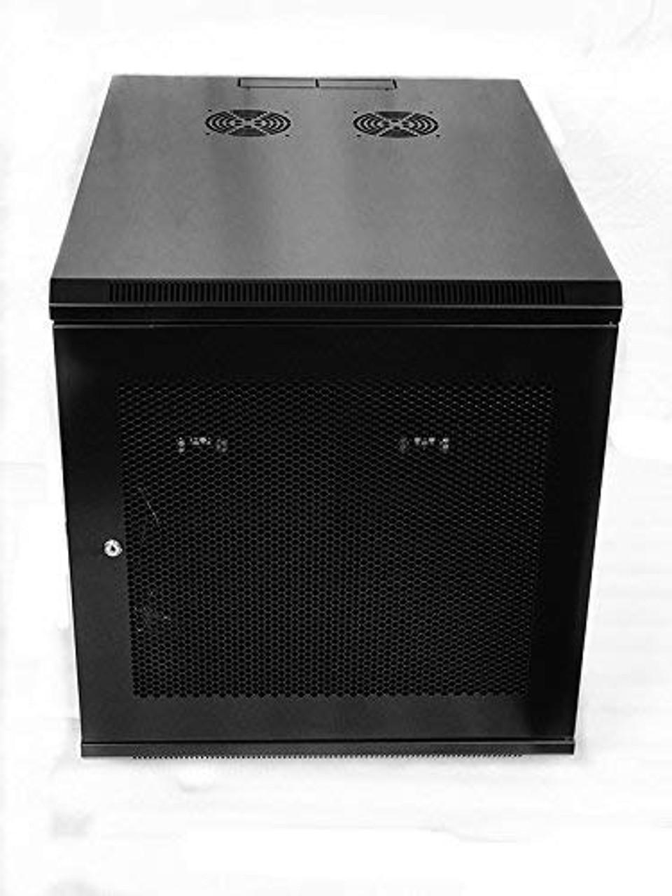 12u 800mm Depth Wall Mount Network Server Cabinet Rack Enclosure Meshed Door Lock Raising Electronics