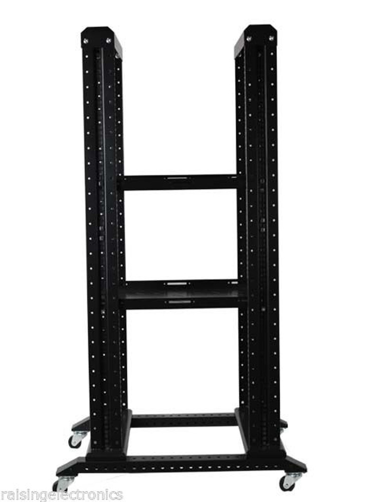 """27U 4 Post Open Frame Network Server Rack 19/"""" 17/"""" Deep With 3 Pairs of L Rails"""
