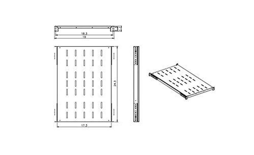 Raising Electronics Fixed Rack Server Shelf 1U 19'' 4 Post