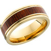 18K yellow gold flat band with grooved reverse-milgrained edges and a Mexican Cocobollo hardwood inlay.