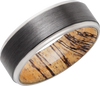 Zirconium 8mm Band with Grooved Edges and Spalted Tamarind Hardwood sleeve.