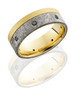 18K Yellow Gold 8mm Flat Band with 5mm Off-Center Meteorite inlay and Seven .04ct Black Diamonds - TCW .28