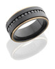 Zirconium 9mm Flat Band with 14K Rose Gold Grooved Edges and 16, .04ct Black Diamonds