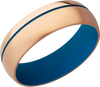 14K Rose Gold 7mm band with off center blue Cerakote groove and blue Cerakote on the sleeve