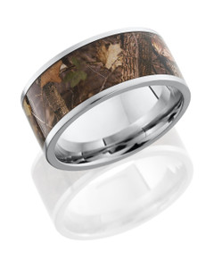 Cobalt Chrome 10mm Flat Band with 8mm King's Woodland Camo inlay