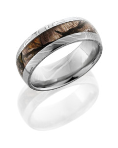 Damascus Steel 8mm Domed Band with 4mm Mossy Oak Treestand Camo inlay