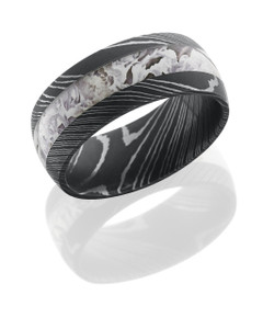 Damascus Steel 9mm Domed Band with 4mm King's Snow Camo inlay