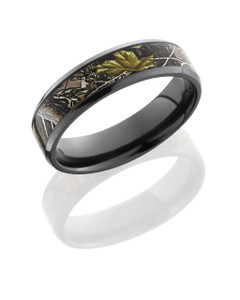 Zirconium 6mm Flat Band with Beveled Edges and 4mm Realtree APG Camo inlay
