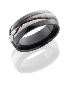 Zirconium 8mm Domed Band with 4mm Realtree AP Snow Camo inlay